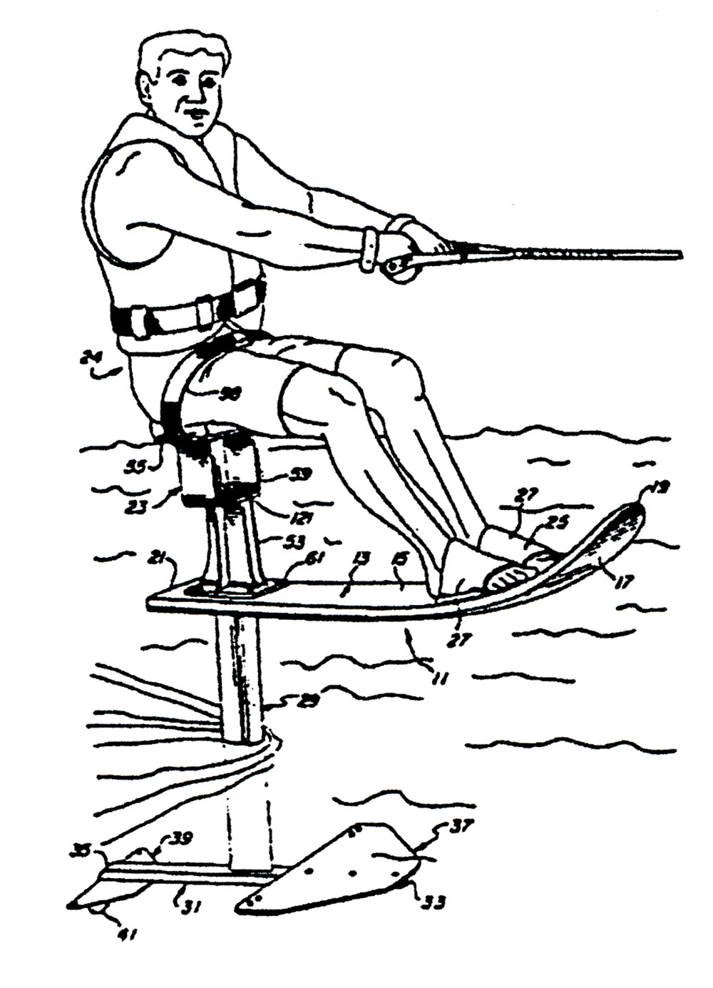 adventures-water-skiing-hydrofoiling-1989-patent-drawing