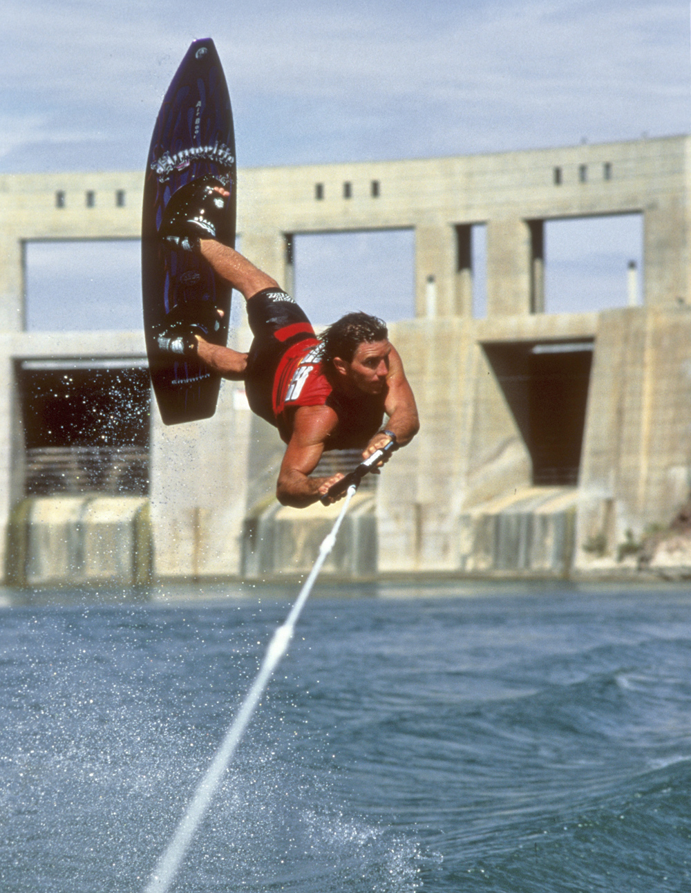 Gutsy air chair flip over dock mike murphy on hydrofoil waterskiing - Adventures Water Skiing Hydrofoiling 1994 Ron Stack Wakeboard