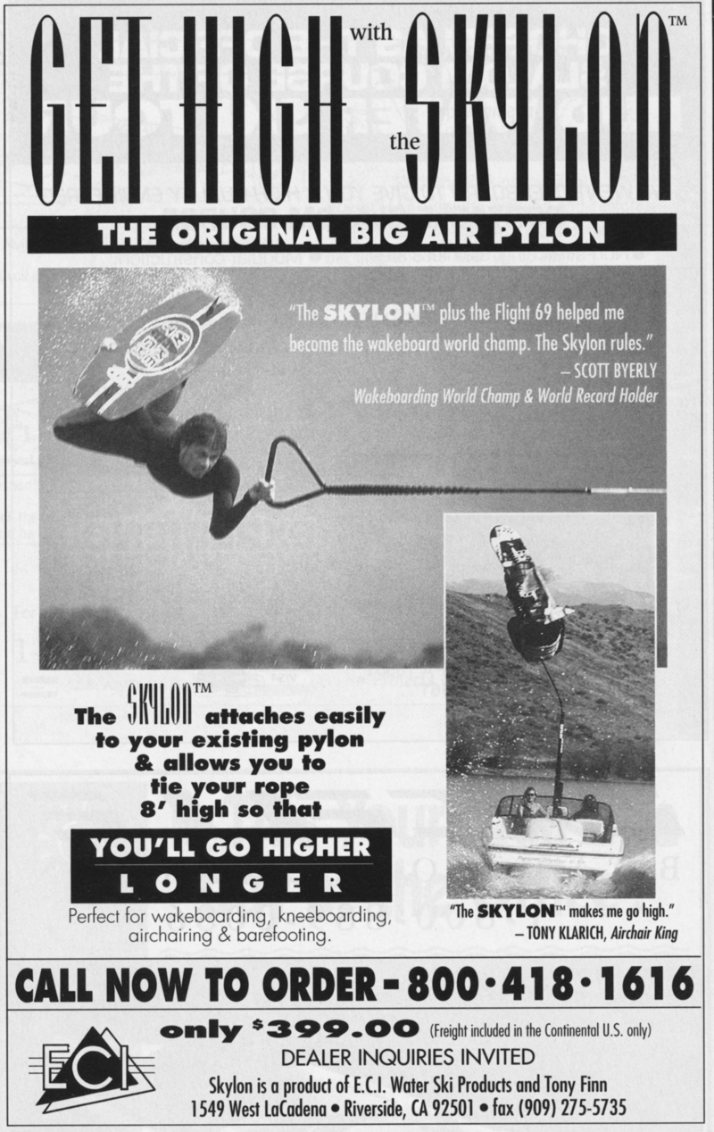 Gutsy air chair flip over dock mike murphy on hydrofoil waterskiing - Adventures Water Skiing Hydrofoiling 1995 Skylon Ad Klarich