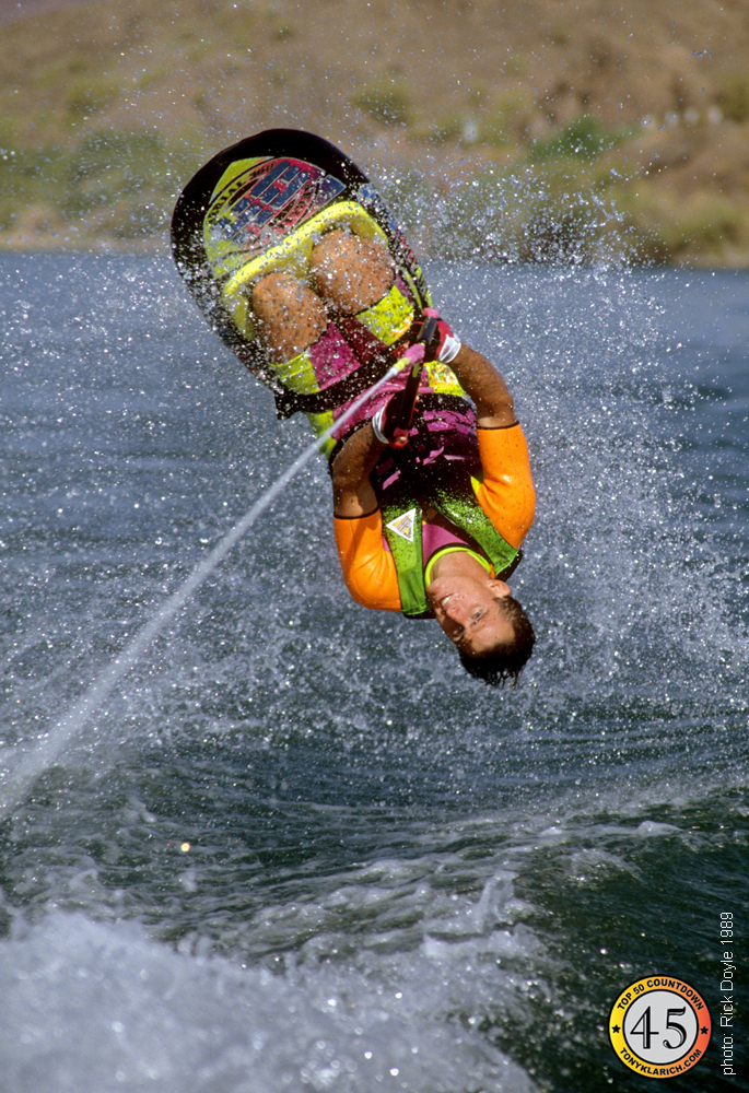 kneeboarding HO Skis water skiing back roll National Champion Tony Klarich designer All time best