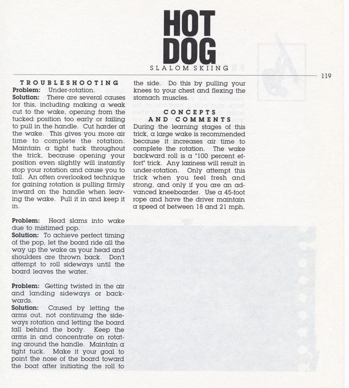 119 Hot Dog Slalom Skiing Book Klarich How To Kneeboard Wake Back Roll 700x