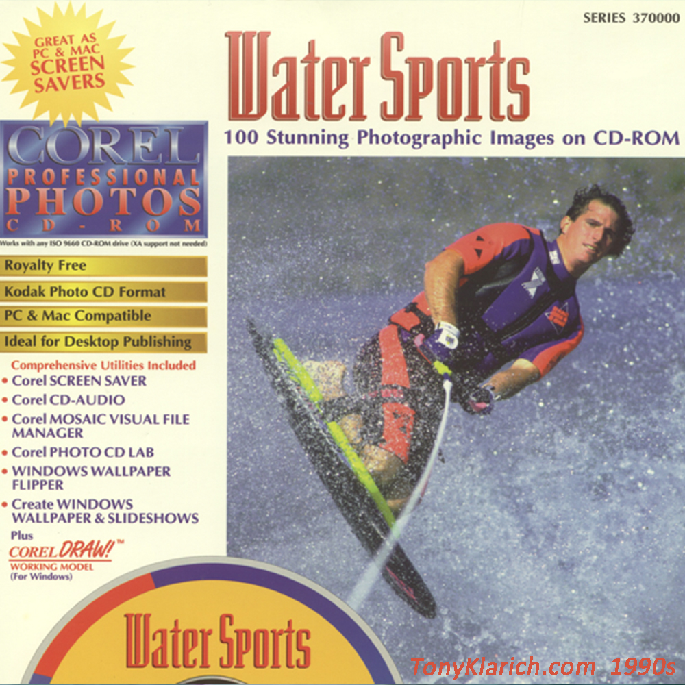 93 Corel Stock Photo DVD cover kneeboard water skiing Klarich