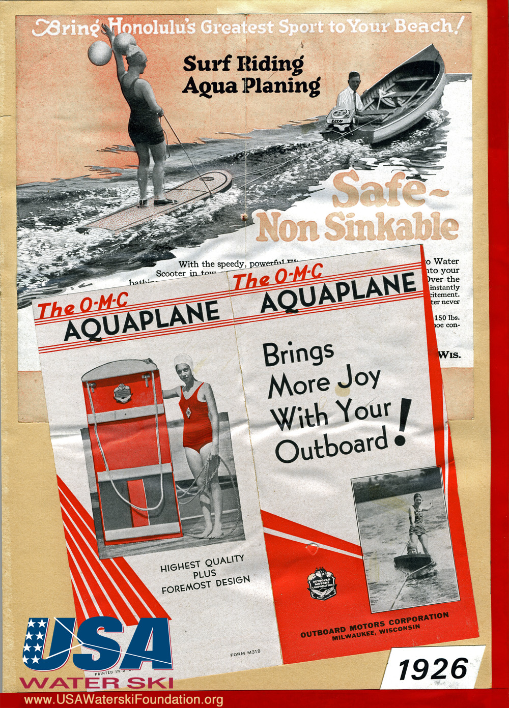 aquaplane advertisement water skiing history