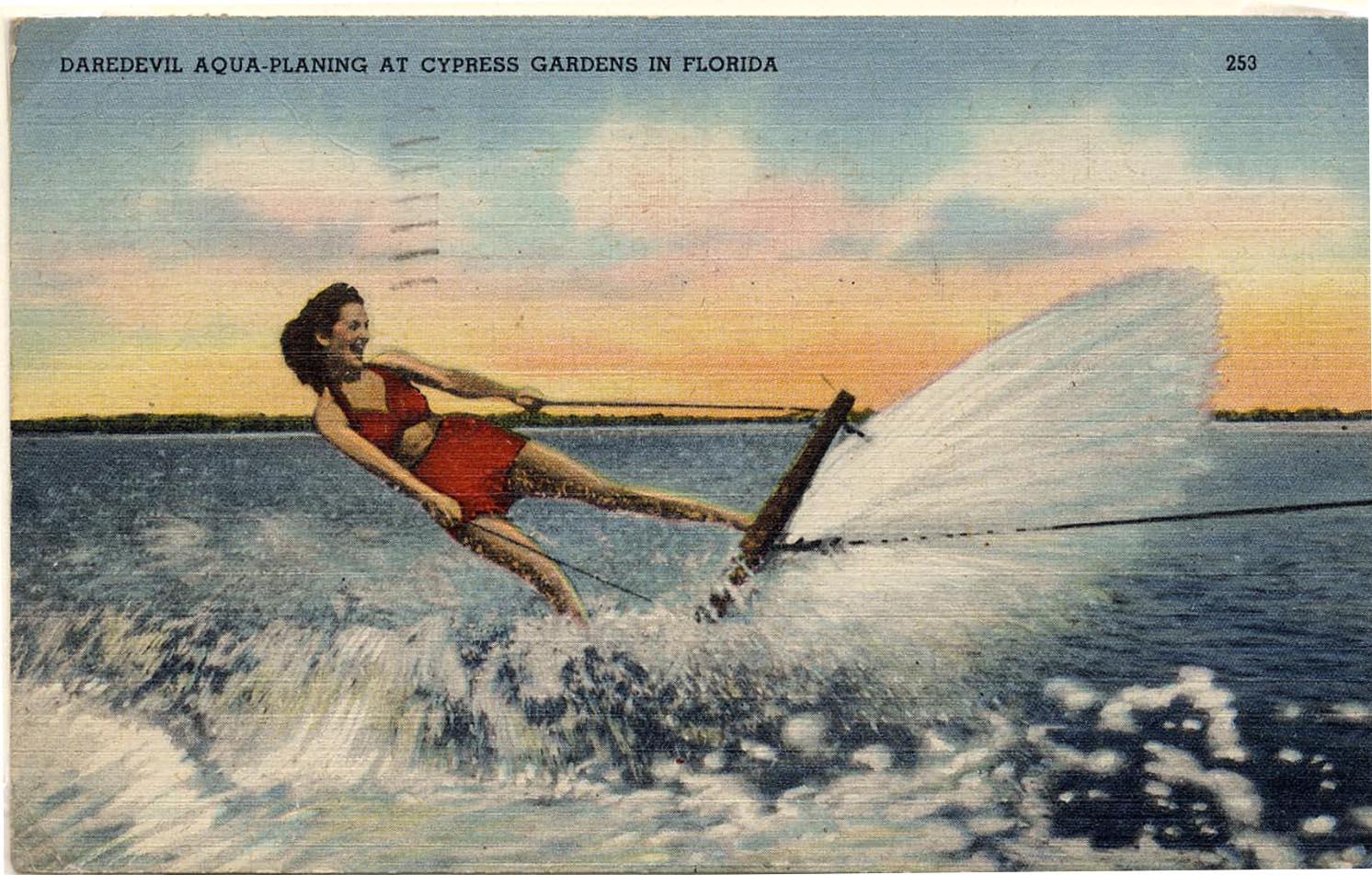 Cypress Gardens postcard aquaplane