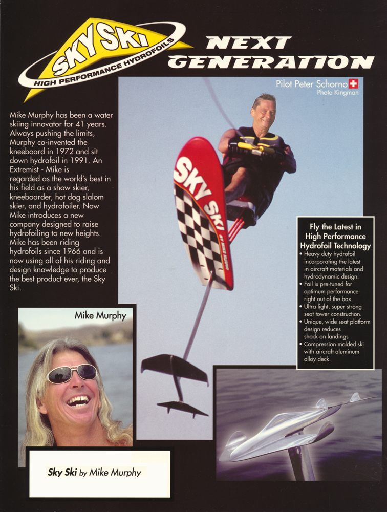 peter scherzo sky ski hydrofoiling ad with Mike Murphy