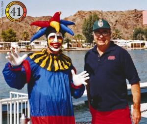 Herb O'Brien HO Joker kneeboard water skiing with Tony Klarich
