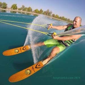 tony klarich on cypress gardens water skis aqua king GoPro on private water ski lake