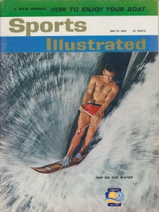 sports illustrated cover slalom water skier shot from Miss Cover Girl photo boat at Cypress Gardens