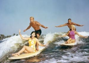 tandem wake surfing Cypress Gardens 1964