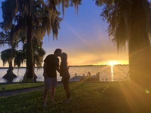 cypress gardens lake house sunset kiss