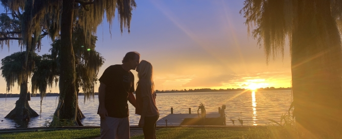 cypress gardens lake house sunset kiss